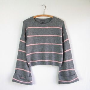 Topshop gray striped bell sleeve cropped sweater